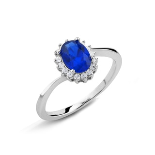 Sterling Silver Genuine Oval Sapphire and Cubic Zirconia Ring