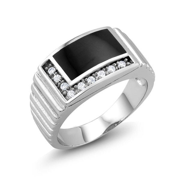 White Goldplated Men's L-Style Onyx and Cubic Zirconia Square Ring