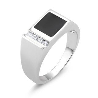 White Goldplated Men's Onyx and Cubic Zirconia Square Ring