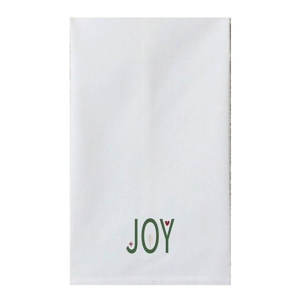 White Holiday Word 18-inch x 30-inch Tea Towel
