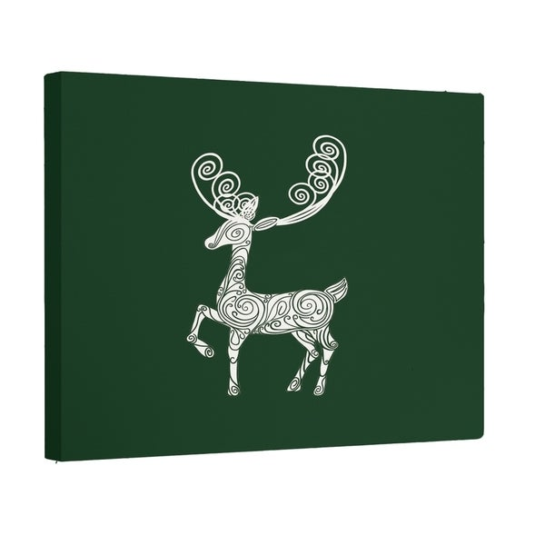 Decorative Holiday Animal Print Red/ Grey/ Green 12-inch x 12-inch Wall Art