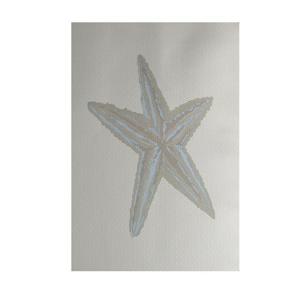 Sea Star Coastal Print Blue/ Grey/ Coral/ Aqua 4-feet x 6-feet Outdoor Decorative Rug