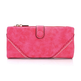 Women's Gearonic Fashion Lady Button Long Leather Wallet