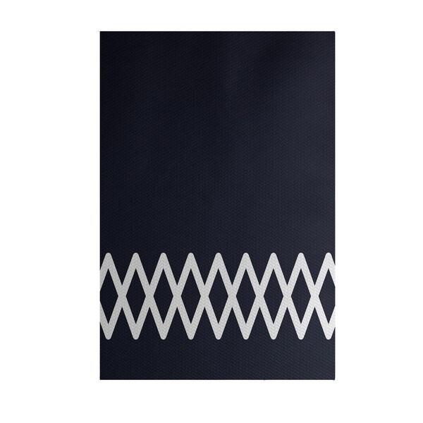 Lace Up Geometric Print Blue/ Grey/ Green/ Yellow 4-feet x 6-feet Outdoor Decorative Rug