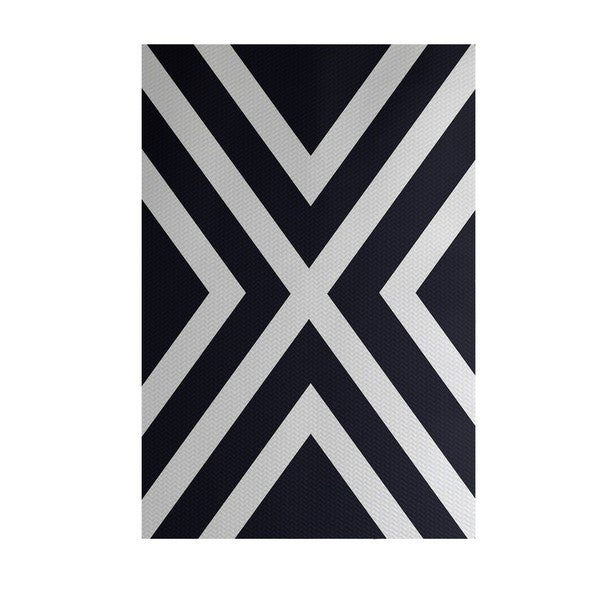 X' Marks the Spot Stripe Print Blue/ Red/ Green/ Yellow 3-feet x 5-feet Outdoor Decorative Rug