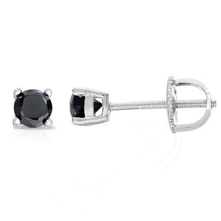 Finesque Sterling Silver, Gold Over Sterling Silver or Platinum Over Sterling Silver 1/10 Ct TDW Black Diamond Stud Earrings