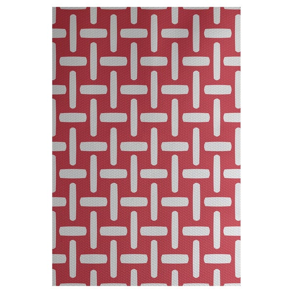 Geometric Print Grey/ Turquoise/ Lemon/ Coral 3-feet x 5-feet Outdoor Decorative Rug