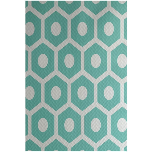 Geometric Print Blue/ Green/ Lemon/ Orange/ Aqua 3-feet x 5-feet Outdoor Decorative Rug