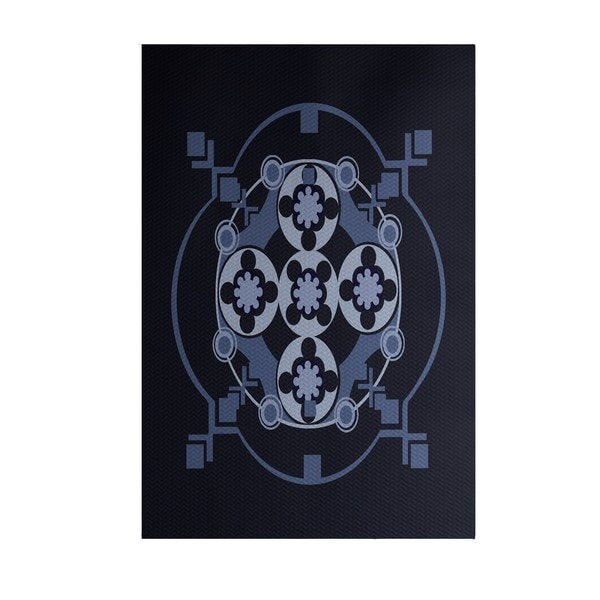 Bandana-Rama Geometric Print Blue/ Grey/ Green/ Teal 3-feet x 5-feet Outdoor Decorative Rug