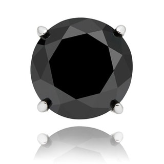 Finesque Sterling Silver or Platinum Over Sterling Silver 1/10ct TDW Black Diamond Single Stud Earring