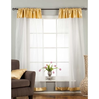 Sheer White/ Gold 43 x 84 Satin Tab Top Tissue Curtain Panel (India)