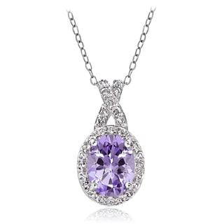 Glitzy Rocks Sterling Silver Gemstone X and Oval Necklace