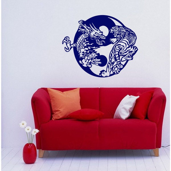 Yin Yang Dragon vs Tiger Vinyl Sticker Wall Art
