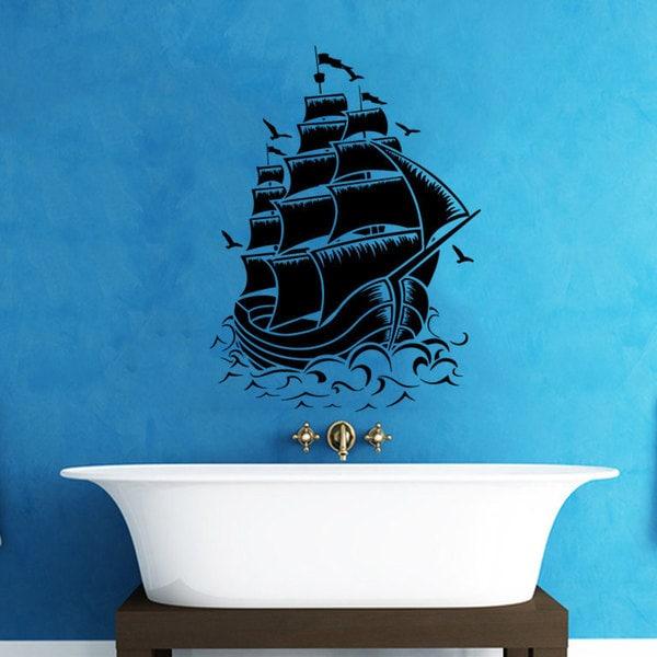 Pirate Ship Bathroom Vinyl Sticker Wall Art