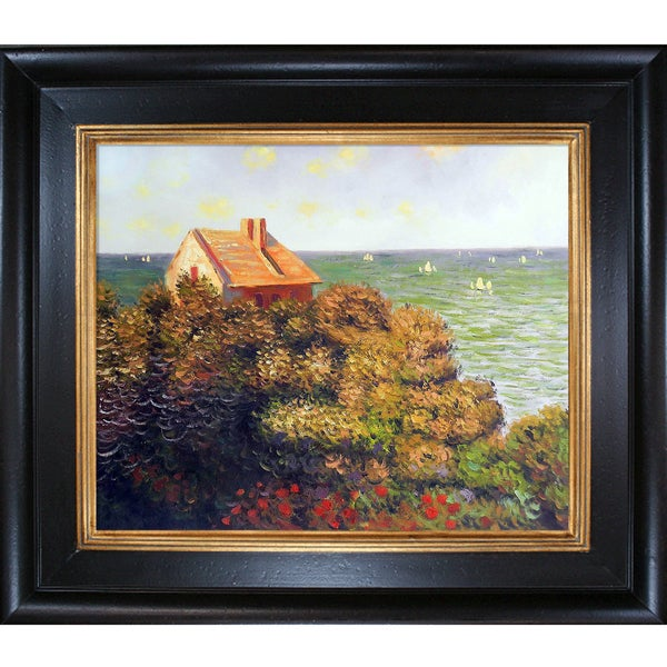 Claude Monet 'Fishermans Cottage At Varengeville' Hand Painted Framed Canvas Art