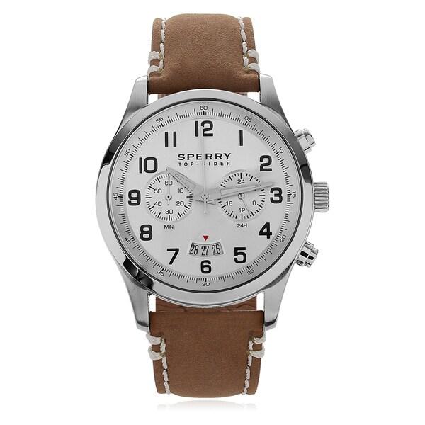 Sperry Men's 'Leeward' Leather Strap Watch