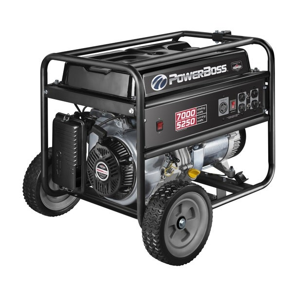 PowerBoss 5250 Watt Gas Powered Portable Generator with Briggs and Stratton Engine and 10-inch Wheel Kit