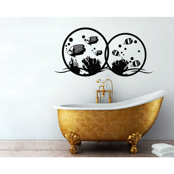 Fish Bubbles Bathroom Vinyl Sticker Wall Art