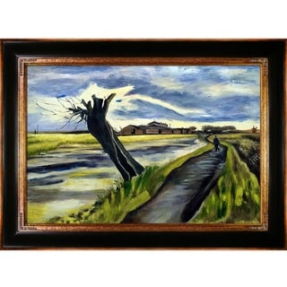 Vincent Van Gogh 'Pollard Willow' Hand Painted Framed Canvas Art