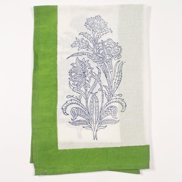 Green Block Print Cotton Napkin (India)