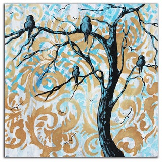 Megan Duncanson 'Blue Fantasy' Colorful Modern Landscape Painting Giclée on Metal