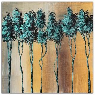 Megan Duncanson 'Dream Land Fluid Gold' Contempoary Colorful Modern Landscape Painting Giclée on Metal