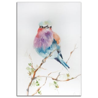 Sophia Rodionov 'Lilac Bird' Contemporary Watercolor Painting Giclée on Metal