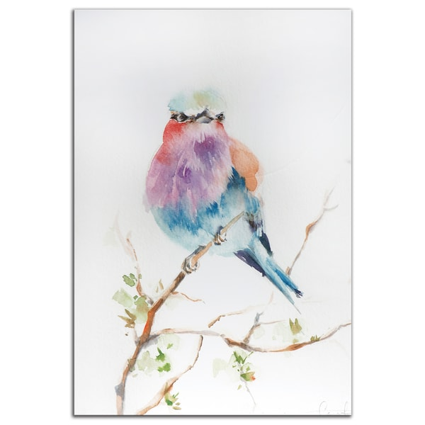 Sophia Rodionov 'Lilac Bird' Contemporary Watercolor Painting Gicle on Metal