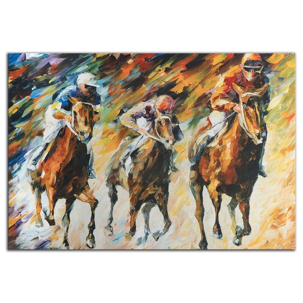 Leonid Afremov 'Instant of Success' Colorful Abstract Horse Race Painting Gicle on Metal