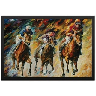 Leonid Afremov 'Instant of Success' Colorful Abstract Horse Race Painting Giclée on Metal