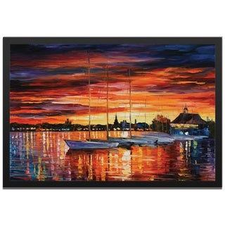 Leonid Afremov 'Helsinki Sailboats at Yacht Club' Colorful Contemporary Art Giclée on Metal