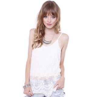 Heart & Hips Junior's T-LC14591 Ivory All Over Lace Cami