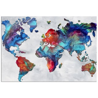 Megan Duncanson 'The Beauty of Color v2.3' Colorful Modern World Map Painting Giclée on Metal