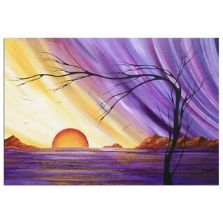Megan Duncanson 'Royal Sunset' Colorful Modern Landscape Painting Giclée on Metal
