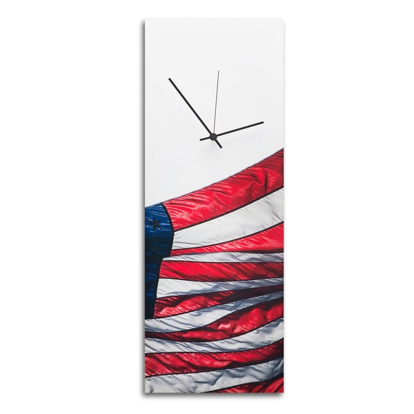 Metal Art Studio 'US Flag Clock' Patriotic Wall Clock Contemporary Star Spangled Banner Decor