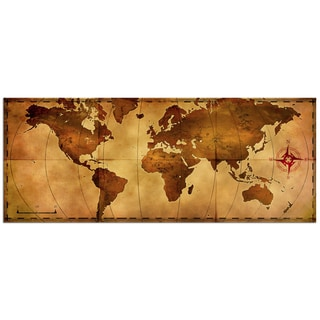Alan Rodriguez 'Old World Map' Contemporary World Map Painting Giclée on Metal