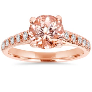 Bliss 14k Rose Gold 1/4 ct TDW Morganite and Diamond Trellis Ring (I-J/I2-I3)