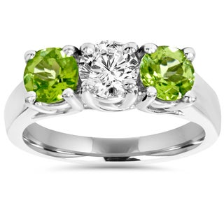 Bliss 14k White Gold 1.25 ct TDW 2mm Peridot Diamond Plain 3-Stone Ring (H-I, VVS1)