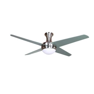 52 Inch Ceiling Fan in Bright Brush Nickel Finish with 16 Inch Lead Wire