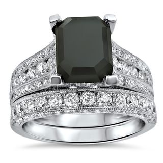 Noori 18k White Gold 4 3/4 TDW Black Emerald-cut Diamond Engagement Ring Set (F-G, VVS1-VVS2)