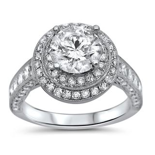 Noori 18k White Gold 2ct TDW Clarity-enhanced Diamond Double Halo Engagement Ring (G-H, SI1-SI2)
