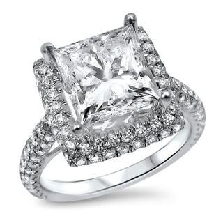 Noori 18k White Gold 4ct TDW Clarity-enhanced Diamond Halo Engagement Ring (G-H, SI1-SI2)