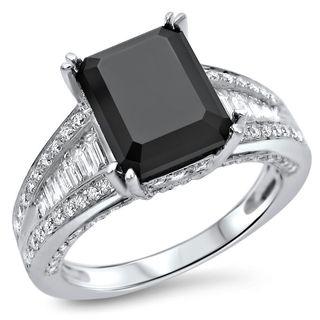 Noori 18k White Gold 3 1/2ct TDW Black Emerald-cut Diamond Engagement Ring (F-G, SI1-SI2)