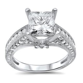Noori 18k White Gold 2 1/2ct TDW Clarity-enhanced Diamond Engagement Ring (G-H, SI1-SI2)