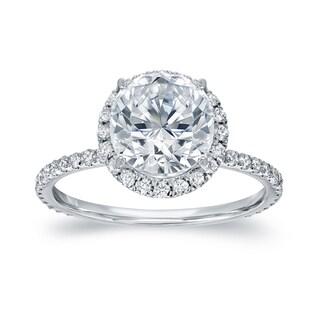 Auriya 18k White Gold 2 3/5ct TDW Certified Round Cut Diamond Halo Engagement Ring (G-H, SI1-SI2)
