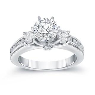 Auriya 14k White Gold 1 1/2ct TDW Round Cut Diamond Three Stone Engagement Ring (G-H, SI2-SI3)