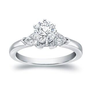 Auriya 14k White Gold 1ct TDW 3-Stone Diamond Engagement Ring (I-J, VS1-VS2)