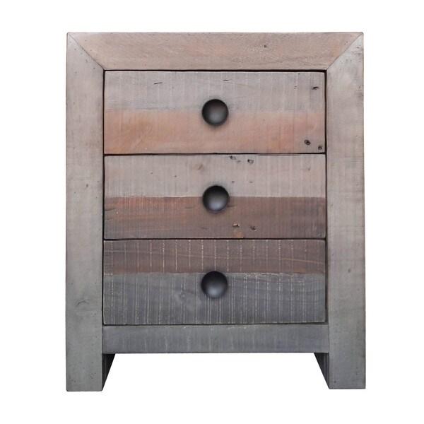 Distressed Vintage Wash Finish 3-drawer Nightstand