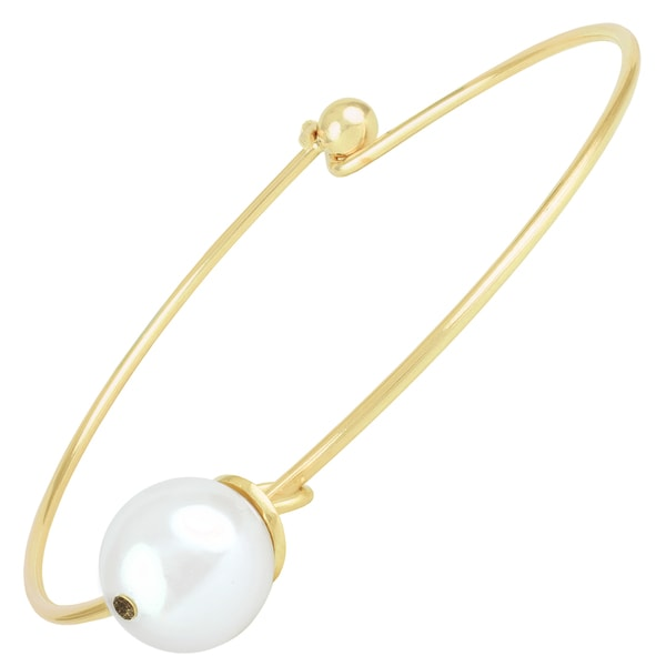 Sunstone Gold Plated Brass Simulated Glass Pearl Bangle Bracelet