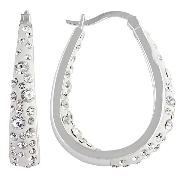 Sunstone Sterling Silver Crystal Resin Hoop Earrings